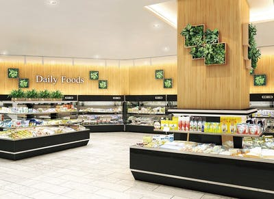 【スーパーマーケットの施工事例】フェイクグリーンのアクセントで 見て楽しい売り場を演出できます。