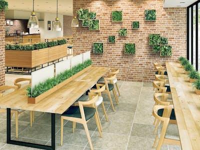 【カフェの施工事例】様々なフェイクグリーンで装飾することでお客様の目に留まる魅力的な空間作りができます。