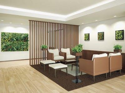 【高齢者施設の施工事例】フェイクグリーンでフォーカルポイントを作ると、空間の魅力がグッと上がります。