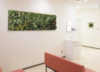 【クリニック待合室の施工事例】フェイクグリーンが、殺風景な壁にリラックス効果や明るい印象を与えます。