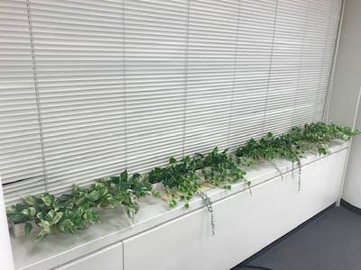 【ワークスペースの施工事例】窓際にグリーンポットを設置することで、手軽にリラックス空間が作れます。