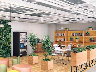 【リフレッシュルームのコーディネート例】フェイクグリーンで作るリラックスするオフィス空間作り