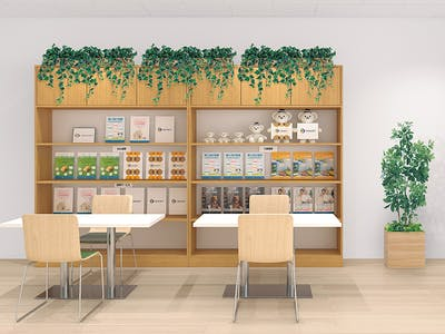 【店舗のコーディネート例】観葉植物を空きスペースに配置して居心地のいい空間作り
