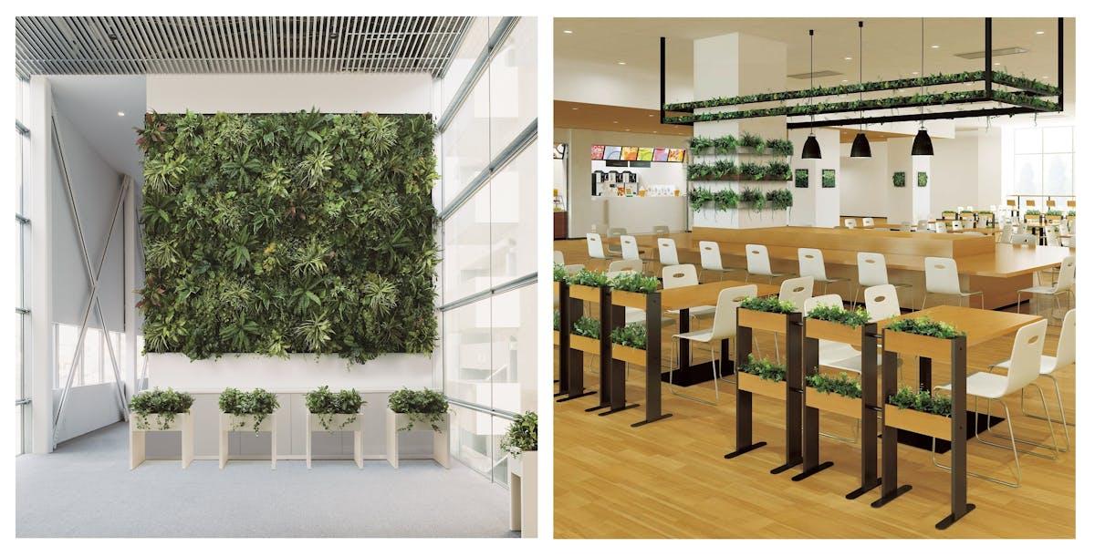 フェイクグリーンを使った壁面緑化の設置事例