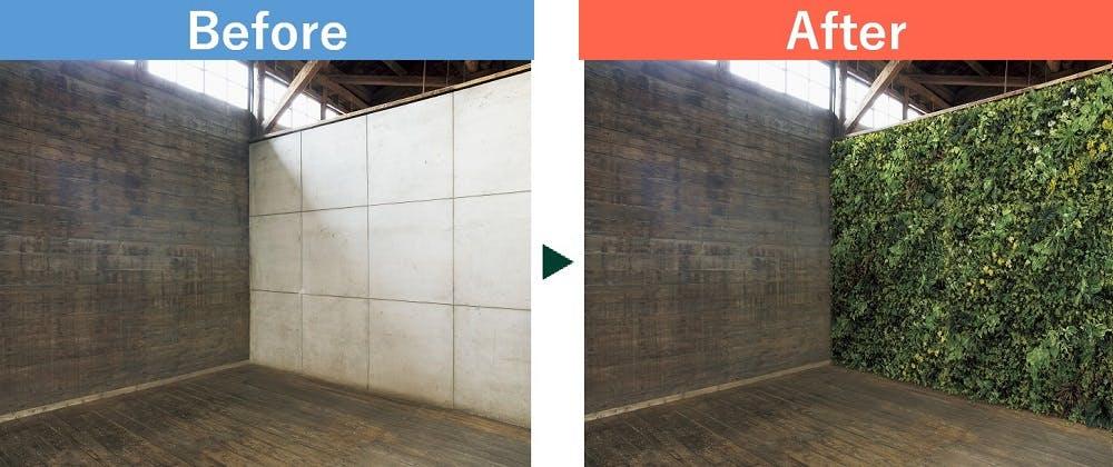 フェイクグリーンを使った壁面緑化のビフォーアフター