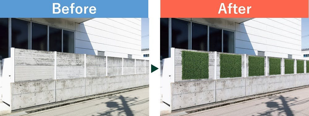 屋外用のフェイクグリーンを使った設置事例