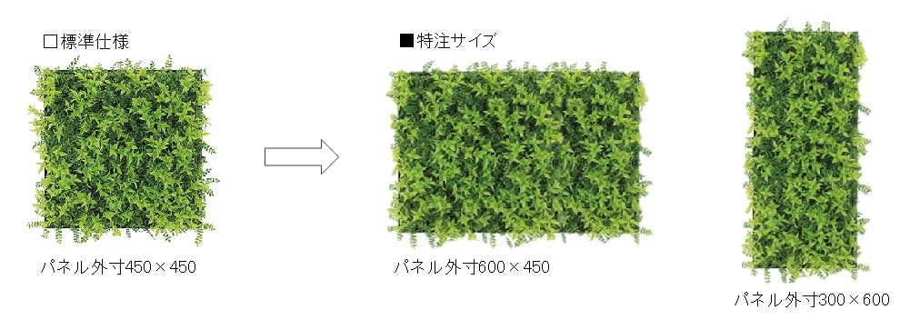 グリーンパネルのサイズ変更の事例