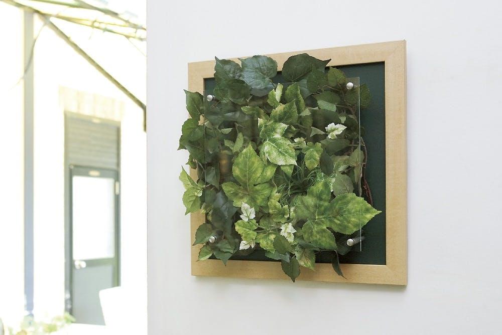 フェイクグリーン壁掛け 木目フレームのウォールグリーン