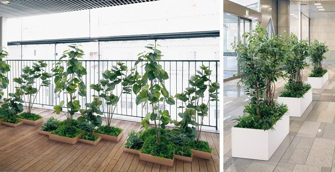人工樹木を使ったグリーン空間作り