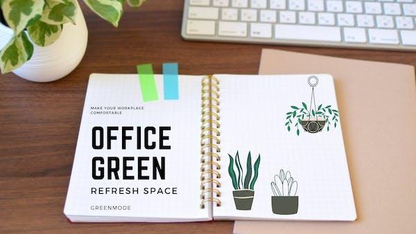 オフィスをグリーンでリフレッシュ空間に