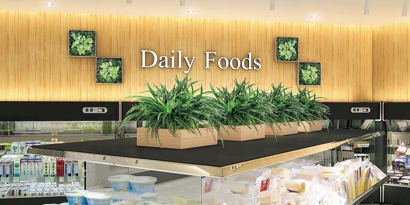 スーパーマーケット、グリーン実例、グリーンポット、グリーンパネル、グリーン装飾、グリーン演出、フェイクグリーン