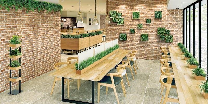 レストラン、カフェ、グリーンポット、グリーンスタンド、グリーンパネル、グリーン装飾、グリーン演出、フェイクグリーン
